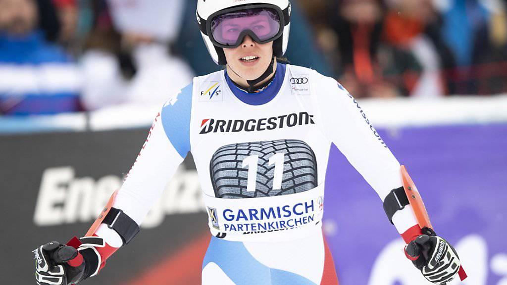 Michelle Gisin mit kritischem Blick nach ihrem Ausscheiden beim Weltcup-Super-G in Garmisch-Partenkirchen