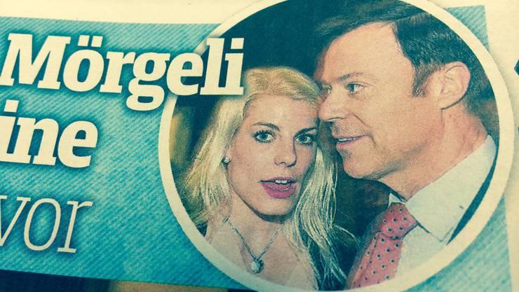 So zeigt der «SonntagsBlick» Christoph Mörgeli und seine neue Freundin Andrea.