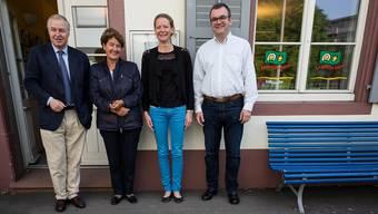 Sie haben Basel aus der Kinderperspektive erkundet: Heiner Vischer, Helen Liebendörfer, Mirjam Rotzler und Alex von Sinner (von links nach rechts).
