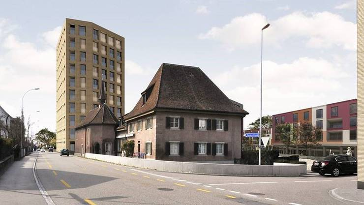 Ein Hochhaus als städtebaulicher Akzent? Die Anton Giess AG hat diese Idee des Zürcher Architekten Max Dudler auf Facebook lanciert. Visualisierung zvg
