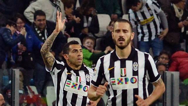 Tevez (links) traf für die Juve zum 1:0, Bonucci erzielte das 2:0
