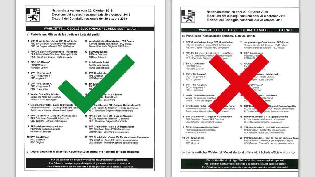 Fehlerhafte Wahlzettelbüchlein in Graubünden