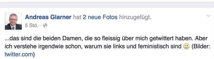 Der Facebook-Post von Andreas Glarner