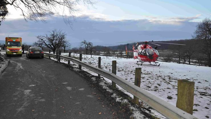 Der Mountainbiker musste mit der Rega ins Spital gebracht werden.