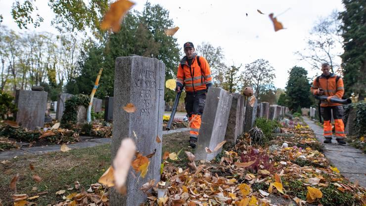 Arbeitsalltag an einem Ort der Trauer: Für den Gedenktag bringen die Gärtner den Friedhof wieder auf Vordermann.
