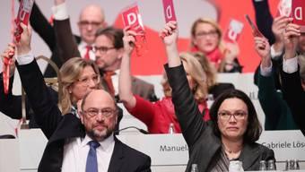 Der SPD-Parteivorstand mit dem Vorsitzenden Martin Schulz (vorne l.) stimmen über Anträge zu Sondierungsgesprächen für eine grosse Koalition ab.