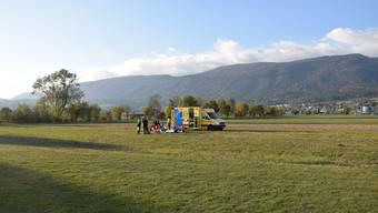 Der Fallschirmspringer verletzte sich beim Landeanflug.