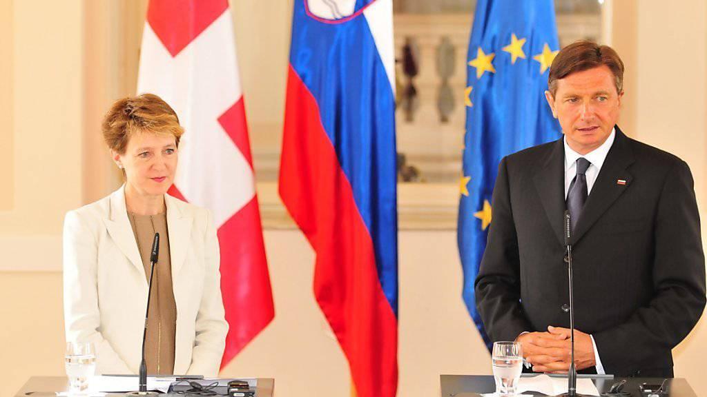 Bundespräsidentin Simonetta Sommaruga und der slowenische Präsident Borut Pahor sind sich einig, dass es für die Lösung der Flüchtlingskrise in Europa eine solidarische Asylpolitik braucht.