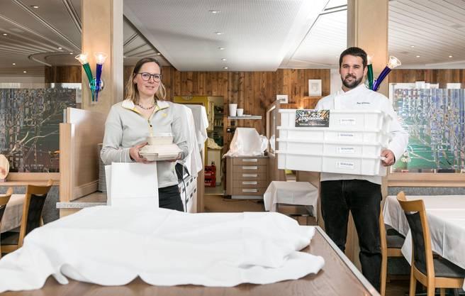 Aarau, 2. April: Der Gasthof Schützen dürfte die Coronakrise überstehen. «Wir spüren grosse Solidarität», sagen Manuela Schmid und Peter Schneider. Sie haben einen Take-away- und einen Lieferservice ins Angebot aufgenommen.