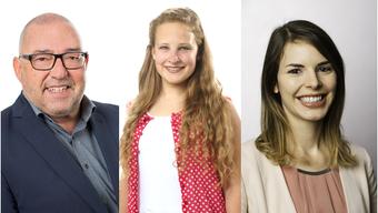 Drei von elf Neuen im Brugger Einwohnerrat: Walter Krenn (FDP), Joya Süess (EVP) und Isabella Bertschi (SP)