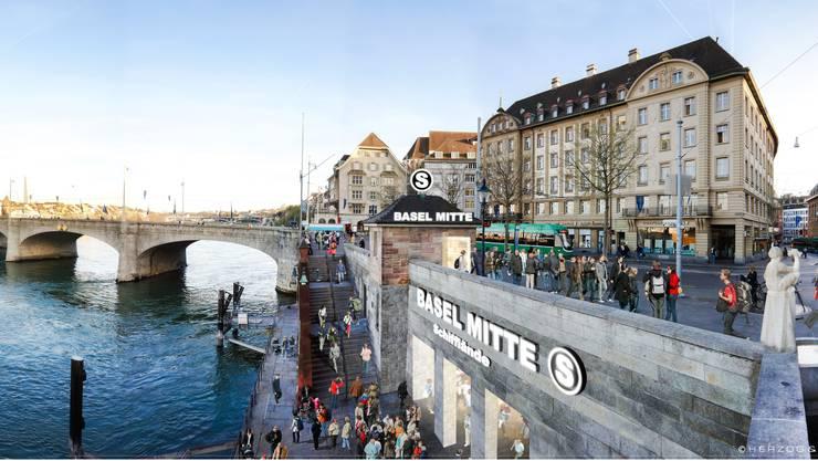 Ein U-Bahnhof an der Schifflände: Viele Basler träumen vom Verkehrsprojekt, das grossstädtisches Flair versprüht. (Visualisierung)