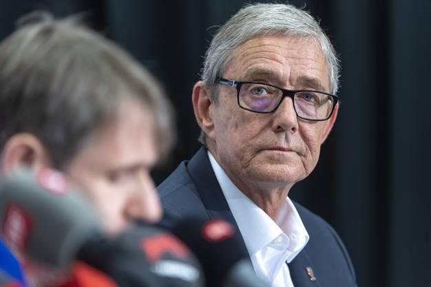 CEO Roland Heri an einer Medienkonferenz des FC Basel 1893 in Basel, am Dienstag, 18. Juni 2019. (KEYSTONE/Georgios Kefalas)