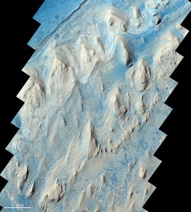 Der Gale Krater hat einen ungefähren Durchmesser von 150 km.