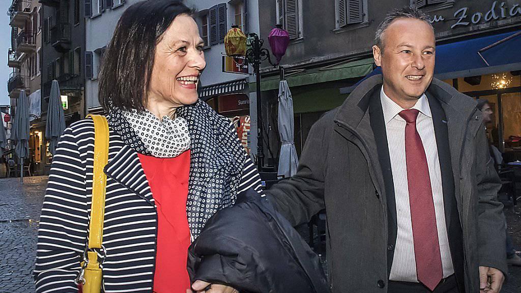 Die SP setzt auf ein Zweiterticket: Regierungsrätin Esther Waeber-Kalbermatten und Stephane Rossini treten am 19. März zum zweiten Wahlgang der Walliser Regierungsratswahlen an (KEYSTONE/Olivier Maire)
