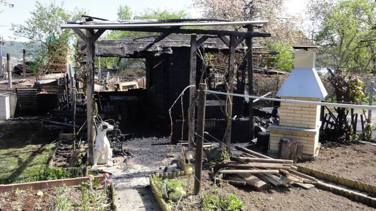 Das zerstörte Gartenhäuschen im Fondli-Quartier.  Anton Scheiwiller