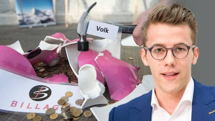 Andri Silberschmidt, Präsident der Jungfreisinnigen (rechts), gehtauf Distanz zum Initiativkomitee: «Der Stil der No-Billag-Kampagne gefällt mir nicht immer», sagt er.