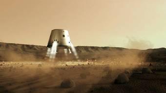 Schon in 10 Jahren soll die Mars-Rakete mit Menschen an Bord landen.