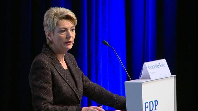 FDP begrüsst Keller-Sutter erstmals als Bundesrätin