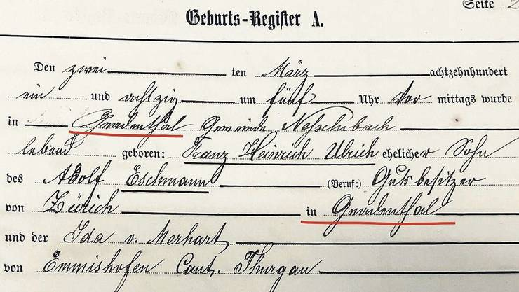 Das Geburtsregister von damals zeigt, dass Kinder im Gnadenthal zur Welt gekommen sind.