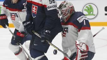 """Goalie Keith Kinkaid """"hext"""" mit 29 Paraden die USA in der Direktbegegnung gegen die Slowakei in die Viertelfinals"""