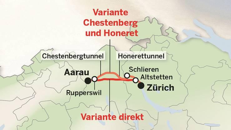 Ein grosser statt zwei kleine Tunnel: Die favorisierte neue Bahnlinie Zürich–Aarau.