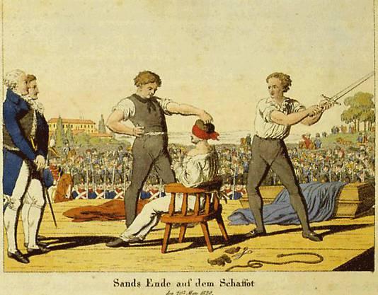 Die Hinrichtung des Attentäter Karl Ludwig Sand am 20. Mai 1820.