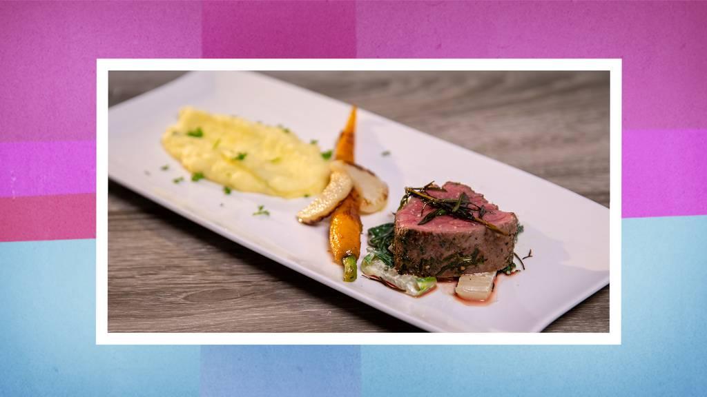 Rindsfilet an Kräuter-Wein-Sauce mit selbstgemachtem Kartoffelstock und Saison-Gemüse