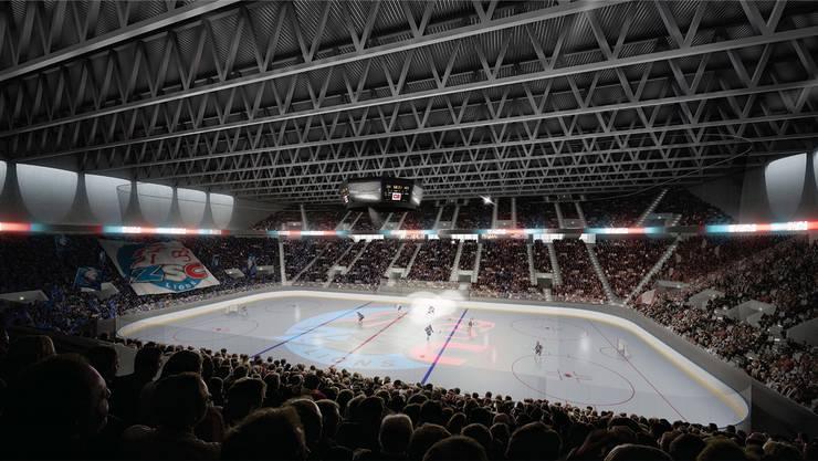 Der geplante «Hexenkessel»: 11602 Zuschauer fasst die Halle, die die ZSC Lions 2022 eröffnen wollen. Visualisierung ZSC Lions
