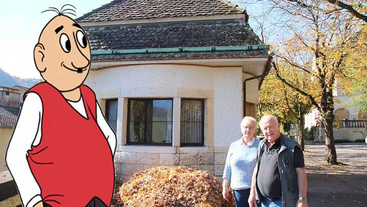 Edith Oppenheims Atelier: Rachela und Roy Oppenheim vor dem Pavillon an der Burghalde. Dort könnte Papa Moll bald einen Platz erhalten.