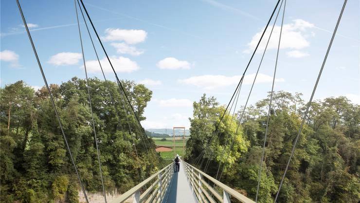 So soll die Hängebrücke zwischen Stetten und Nesselnbach aussehen. Am Ende des Bauwerks ist einer der beiden Schweinemastställe von Werner Humbel zu sehen.