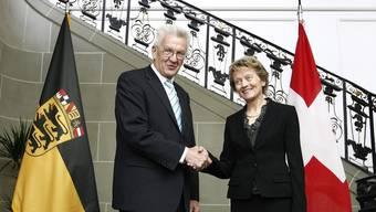 Winfried Kretschmann bei Bundespräsidentin Eveline Widmer-Schlumpf