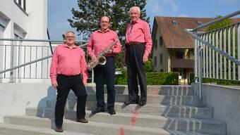 Freuen sich auf den Musiktag in Hausen (von links): Andreas Schmid (Medienchef), André Keller (OK-Präsident) und Heinz Byland (Ehrenpräsident MG Hausen).