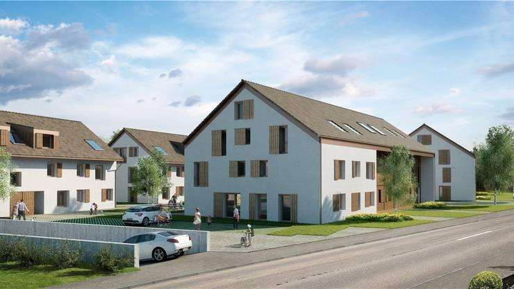 Die geplanten Mehrfamilienhäuser: Zu sehen ist die Dorfstrasse in Richtung Niederbuchsiten nahe der nicht im Bild befindlichen Metzgerei Wyss rechts vorne.