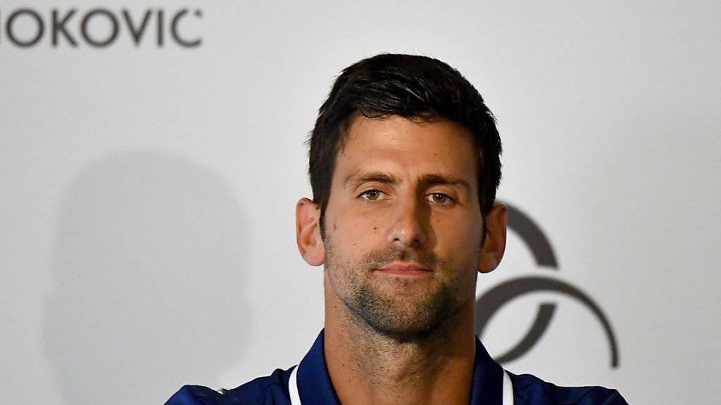 Novak Djokovic bei einer Medienkonferenz Ende Juli in Belgrad