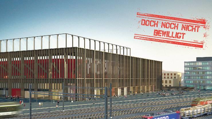 So soll das neue Stadion im Aarauer Torfeld Süd aussehen - doch wegen einer Beschwerde gab es keine Bewilligung.