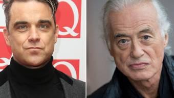 Robbie Williams und Jimmy Page zanken über den Gartenhag (Archiv)