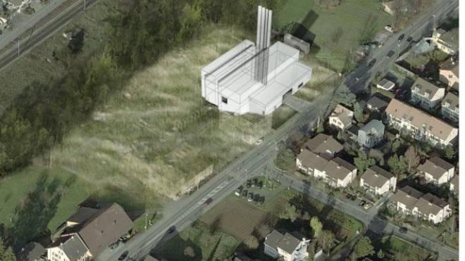 Das geplante Holzkraftwerk am Fuss des Bruderholzes. Visualisierung: EBM