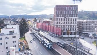 Auch in ländlichen Gegenden wird im Aargau weiterhin viel gebaut: Franke Water Systems KWC erstellt in Unterkulm beim Bahnhof ein Hochhaus.