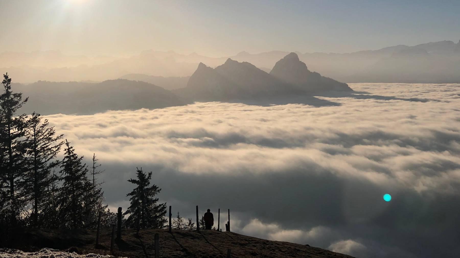 Die Aussicht vom Wildspitz auf den Lauerzersee, der unter dem Nebel versteckt liegt.