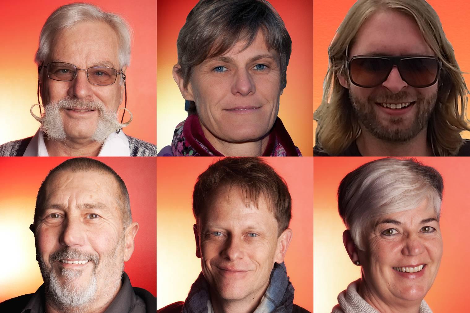 Alle Kandidaten für den Rüüdigen Lozärner 2014. Vinzenz Eggermann, Sabine Hediger, Philipp Hüsler, Kurt Käppeli, Patrick Ottiger und Luitgardis Sonderegger (v.l.o.n.r.u.)