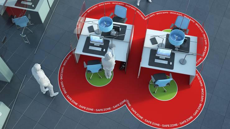 Richtiger Abstand und Plexiglaswände: Das Coronavirus verändert das Aussehen unserer Arbeitsplätze.