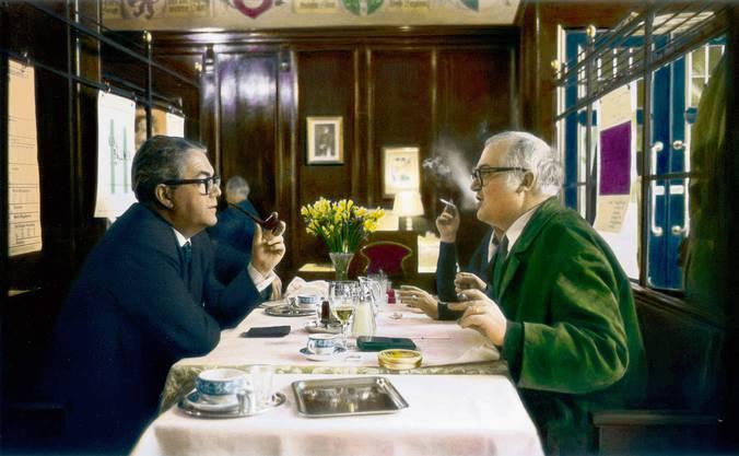 Mit Max Frisch 1963 im Zürcher Restaurant Kronenhalle.