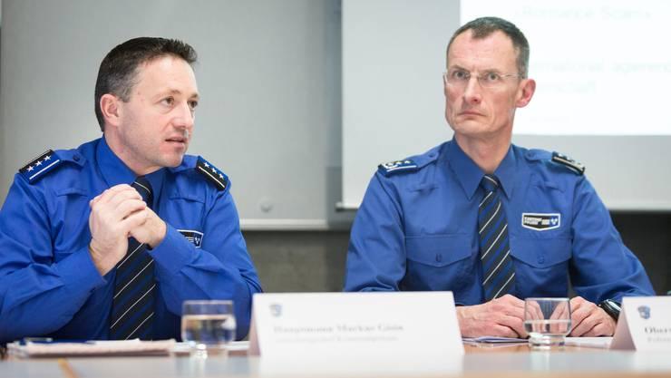 Markus Gisin, Abteilungschef der Kriminalpolizei, und Polizeikommandant Michael Leupold beim Jahresrückblick.