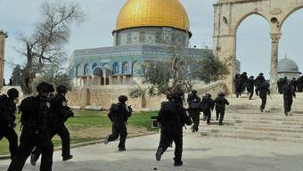 Israelische Sicherheitskräfte stürmen den Tempelberg in Jerusalem, wo die Al-Aksa-Moschee steht