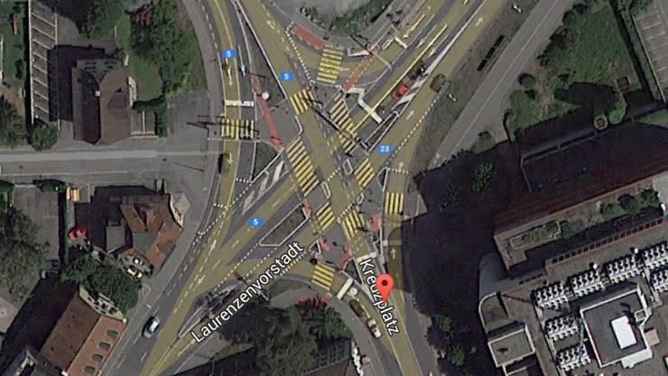 Gefährlich: Der Kreuzplatz in Aarau von oben