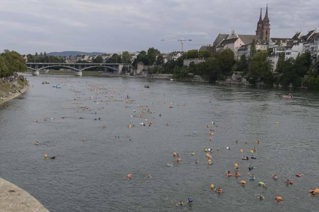Im Sommer ist der Rhein gesäumt mit Schwimmern und Schwimmsäcken.