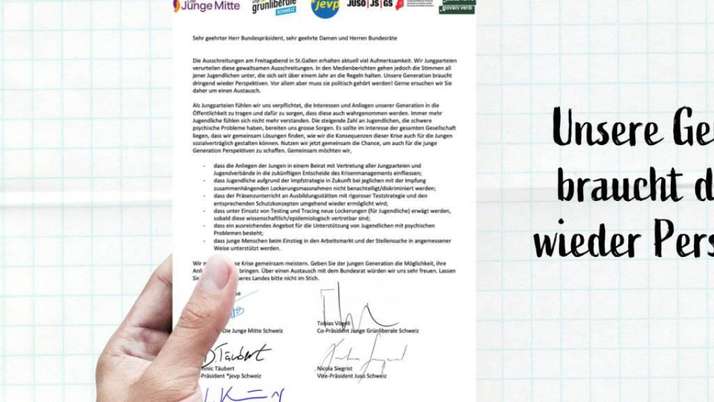 Die Spitzen der Jungparteien von Mitte, Grünliberalen, EVP, SP und den Grünen fordern in einem Brief einen Austausch mit dem Bundesrat.