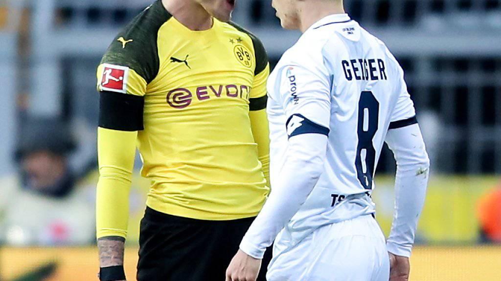 Hoffenheim mit Dennis Geiger (rechts) bietet dem BVB (im Bild Maximilian Philipp) nach Dreitore-Rückstand erfolgreich die Stirn