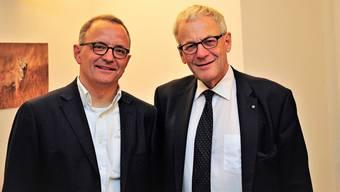 Der Aarauer FDP-Stadtrat Hanspeter Hilfiker (links) und Kurt Fluri, Stadtpräsident von Solothurn.