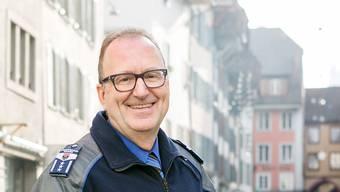 Medienkonferenz der Stadtpolizei Aarau zu den Zahlen 2018 im Rathaussaal in Aarau. Im Bild: Daniel Ringier, Chef der Stadtpolizei Aarau.